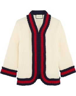 Ruffle-trimmed Ribbed Wool Cardigan