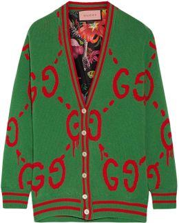 Reversible Wool Jacquard-knit And Printed Silk-twill Cardigan