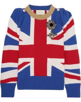 Union Jack Embellished Wool Sweater