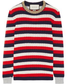 Metallic-trimmed Striped Wool And Cashmere-blend Sweater
