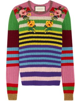 Appliquéd Striped Wool And Cashmere-blend Sweater