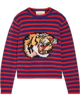 Appliquéd Intarsia Wool Sweater