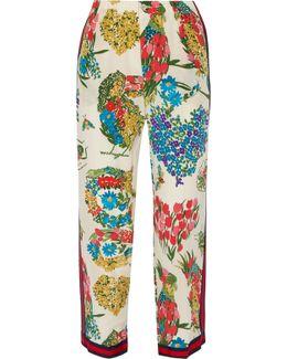 Grosgrain-trimmed Printed Silk Crepe De Chine Straight-leg Pants