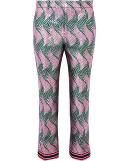 Silk-blend Jacquard Straight-leg Pants