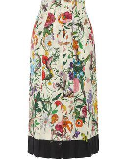 Pleated Floral-print Silk Crepe De Chine Midi Skirt