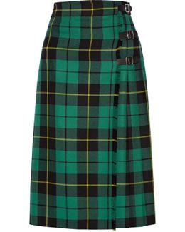 Pleated Tartan Wool Skirt