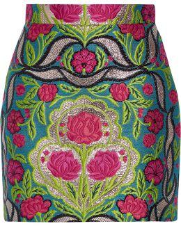 Metallic Floral-jacquard Mini Skirt