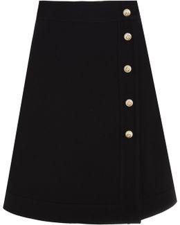 Embellished Wool And Silk-blend Mini Skirt