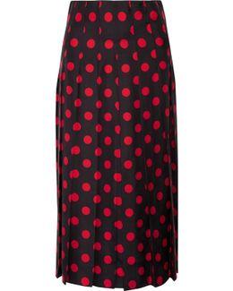 Pleated Polka-dot Silk-satin Twill Midi Skirt
