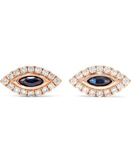 Evil Eye 18-karat Rose Gold, Diamond And Sapphire Earrings