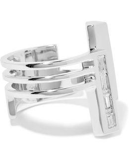 Division Rhodium-plated Cubic Zirconia Ring