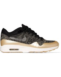 Air Max 1 Ultra 2.0 Metallic Leather-trimmed Flyknit Sneakers