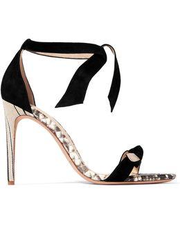 Bow-embellished Python-trimmed Suede Sandals