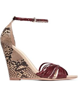 Python And Leather Wedge Sandals