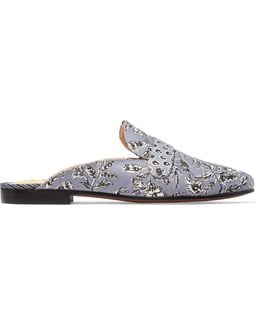 Perri Printed Leather-trimmed Canvas Slippers