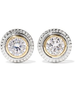 Silver And Gold-plated Cubic Zirconia Earrings