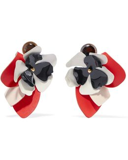 Leather, Steel And Horn Clip Earrings