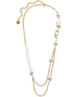 Gold-plated, Faux Pearl And Crystal Necklace