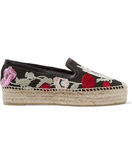 Leather-trimmed Embroidered Canvas Espadrille