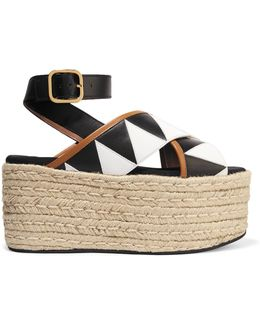 Leather And Patent-leather Platform Sandals