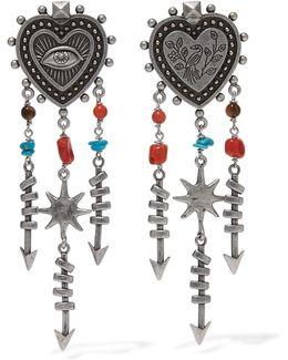 Silver-tone Beaded Earrings