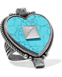 Burnished Silver-tone Enamel Ring