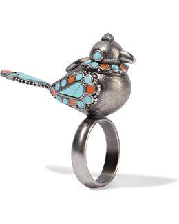 Burnished Enameled Silver-tone Ring