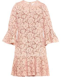 Ruffled Corded Cotton-blend Guipure Lace Mini Dress