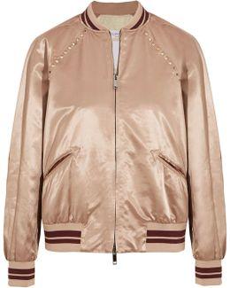 Rockstud Embellished Satin Bomber Jacket
