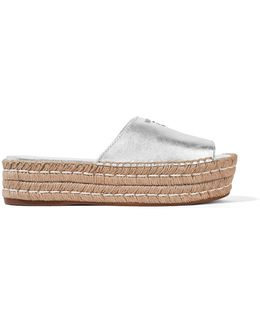 Embellished Metallic Leather Espadrille Sandals