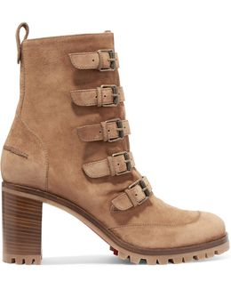 Who Walks Buckled Suede Ankle Boots