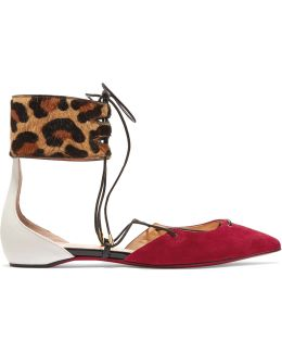 Corsankle Leopard-print Calf Hair, Suede And Leather Point-toe Flats