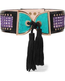Embellished Crochet And Suede Waist Belt