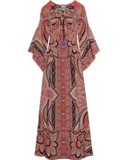 Tassel-trimmed Paisley-print Silk Gown