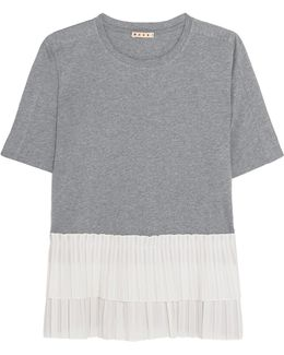 Cotton-jersey And Tiered Pleated Poplin T-shirt