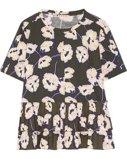 Poplin-trimmed Floral-print Cotton-jersey Top
