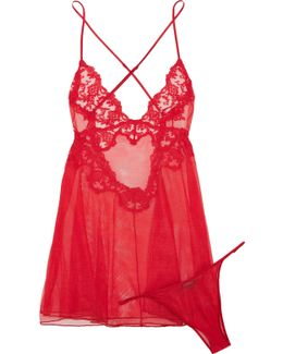Floral Vibes Embroidered Stretch-tulle Chemise And Thong