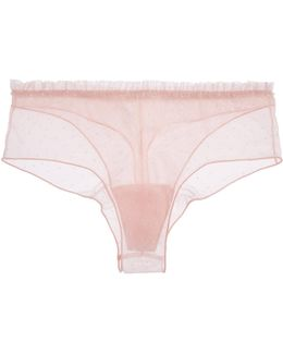 Plumetis Ruffle-trimmed Stretch Point D'esprit Tulle Briefs