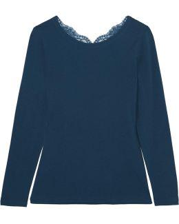 Souple Lace-trimmed Stretch-cotton Jersey Pajama Top
