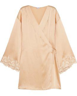 Maison Lace-trimmed Silk-blend Satin Robe