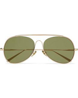 Spitfire Aviator-style Gold-tone Mirrored Sunglasses