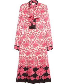 Pussy-bow Pleated Printed Silk Crepe De Chine Dress