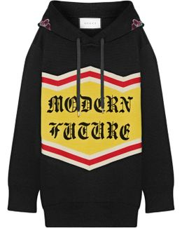 Modern Future Sequin-embellished Cotton Jacquard-knit Hooded Top