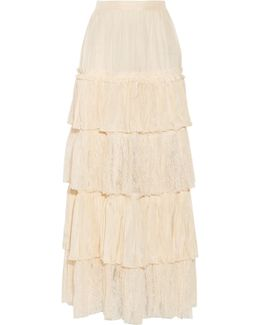Tiered Silk-satin And Lace Maxi Skirt