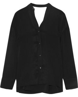 Cutout Twill Wrap Shirt