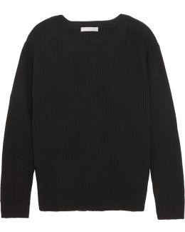 Tie-back Ribbed Cotton And Cashmere-blend Sweater