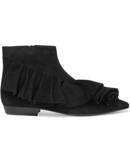 Ruffled Suede Ankle Boots