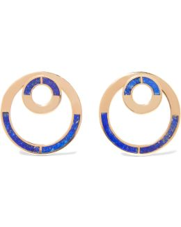 Quarter Gold-tone Lapis Lazuli Earrings