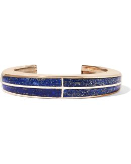Inlay Cross Gold-tone Lapis Lazuli Cuff