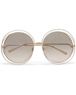 Carlina Round-frame Gold-plated Sunglasses